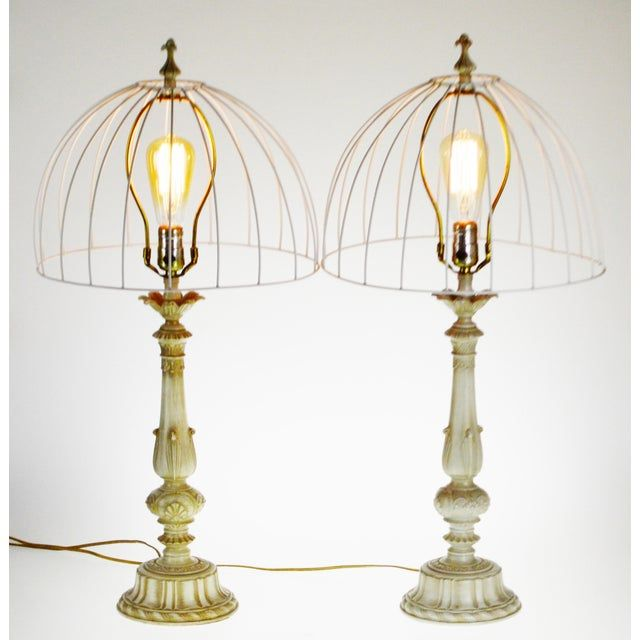 Vintage Metal Candlestick Table Lamps With Metal Cage Lamp Shades Metal Lamp Shade Metal Lamp Target Table Lamps