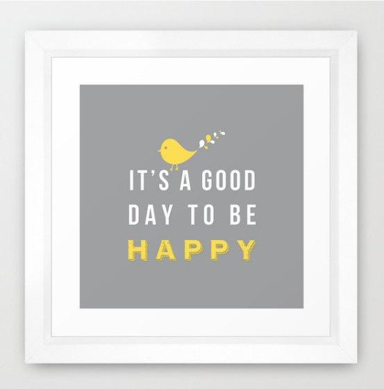 Happy poster - 8x8 print grey background grey and yellow decor birthday gift wall decor art. $17.00, via Etsy.