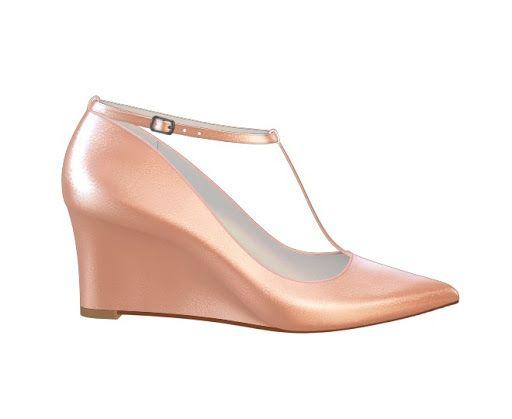 Rose Gold Shiny Wedge Heels