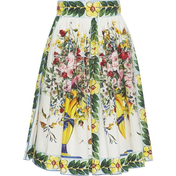Dolce & Gabbana Floral-Print Cotton Skirt ($845) ❤ liked on Polyvore featuring skirts, print, cotton knee length skirt, dolce gabbana skirt, floral cotton skirt, patterned skirts and flower print skirt