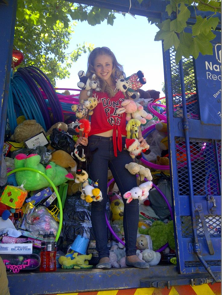 Alyssa in the toy cage at toy run 2013