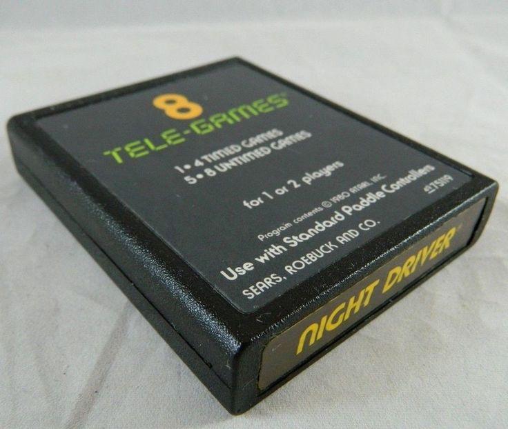 Vintage Atari 2600 NIGHT DRIVER Video Game Cartridge (Sears) 1980 Tested & Works