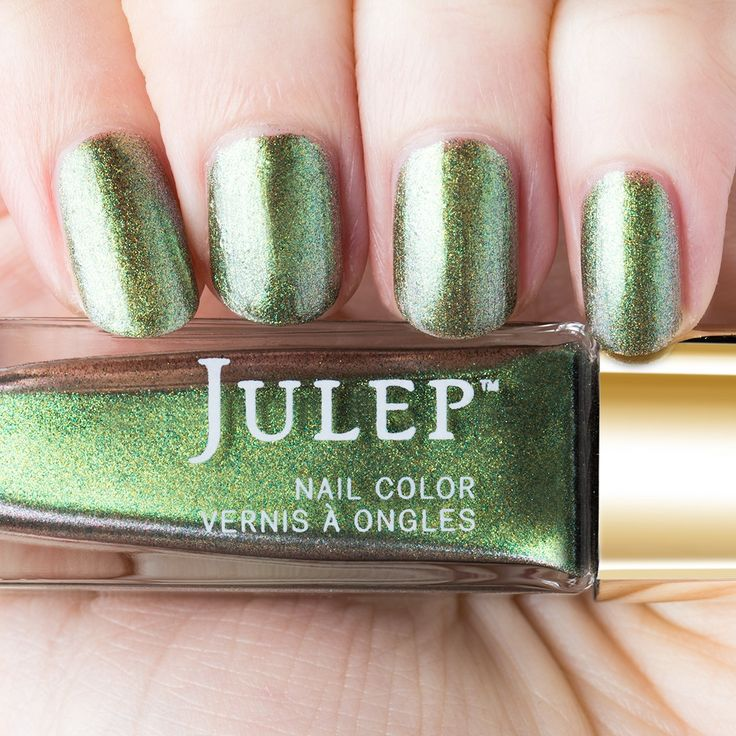 Julep Betsey - Peridot birthstone iridescent shimmer. A striking gem for August in our gold-capped Birthstone Collection.