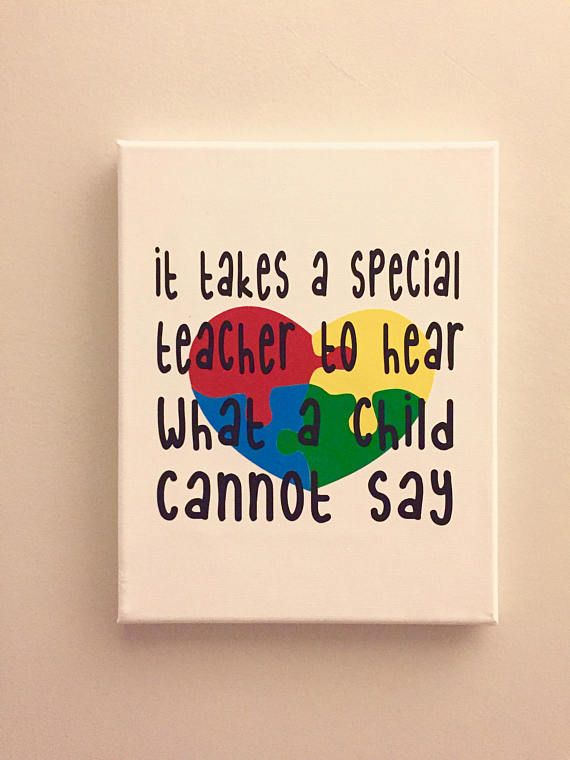 8x10 canvas image of autism teacher appreciation image. The canvas is painted in white and the image is 651 vinyl. A great gift for a teacher to display at work or at home and always remember the impact she/he has had on a child :)