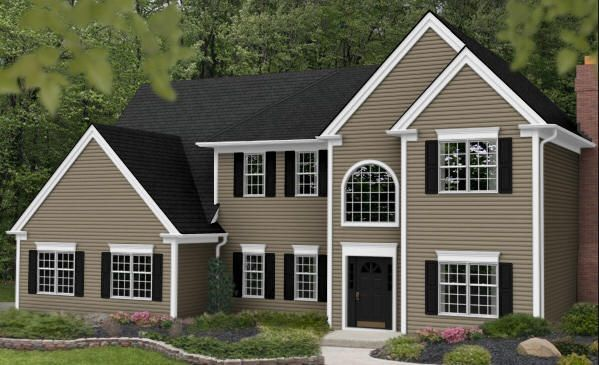Vinyl siding color tuscan clay white trim dark gray for Vinyl siding colors on houses