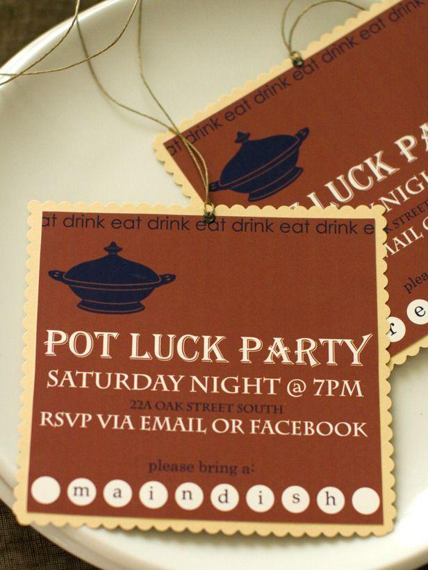 pot luck dinner party invite design