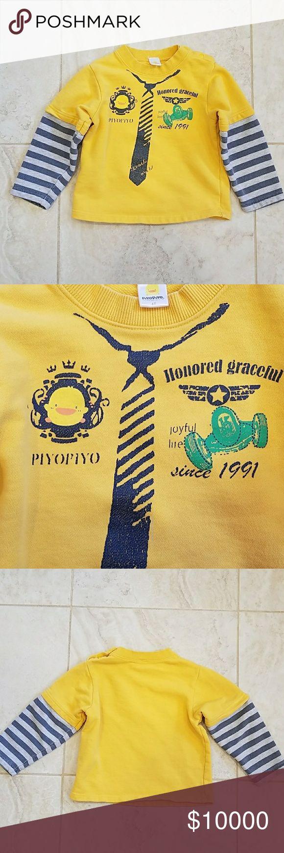 4T PIYO PIYO long sleeve shirt in warm fabric 4T PIYO PIYO long sleeve shirt. No stain or rip. It is in an excellent condition.  100% cotton. PIYO PIYO Shirts & Tops Tees - Long Sleeve