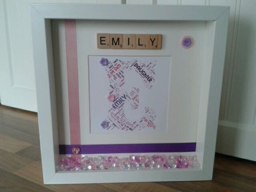 281 best picture boxes images on pinterest picture frame personalised scrabble word art frame picture christening new baby girl gift negle Choice Image