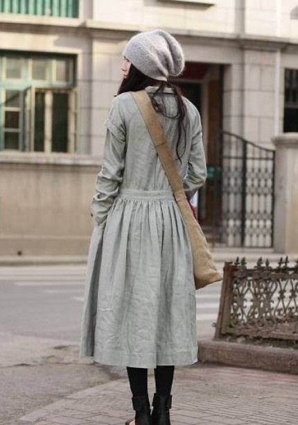 gray: Street Style, Outfit, Linen Dresses, Grey Dresses