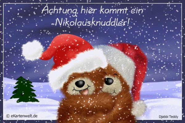 Achtung, hier kommt ein Nikolausknuddler! Animierte Grüße zum Nikolaus mit Djabbi Teddys im Schnee