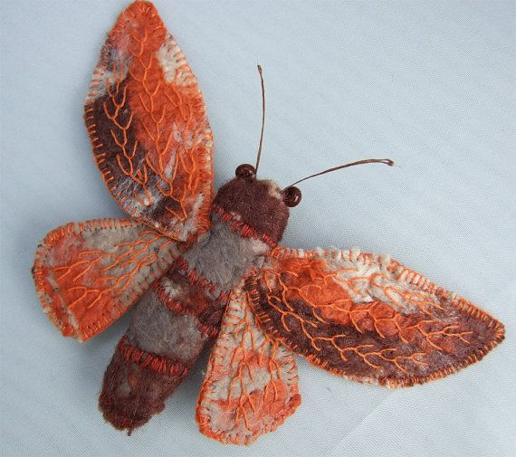 Moth Brooch Silk Paper and Embroidery Autumn by ScarletExperiment