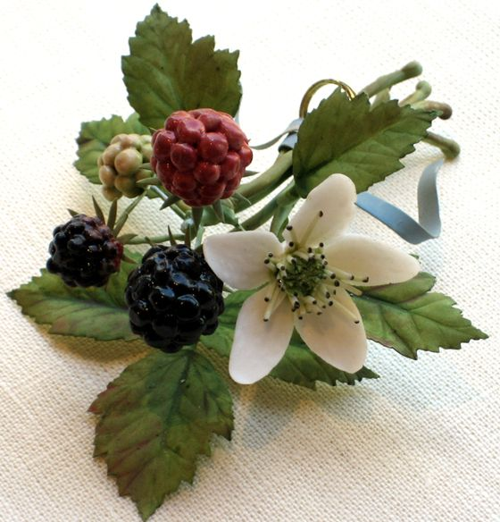 Porcelain and tole flowers and berries by Vladimir Kanevsky.