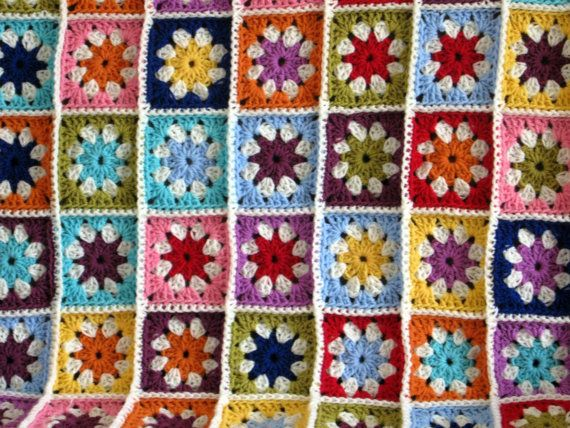 Daisy Blanket Granny Squares Crochet Afghan In by Thesunroomuk