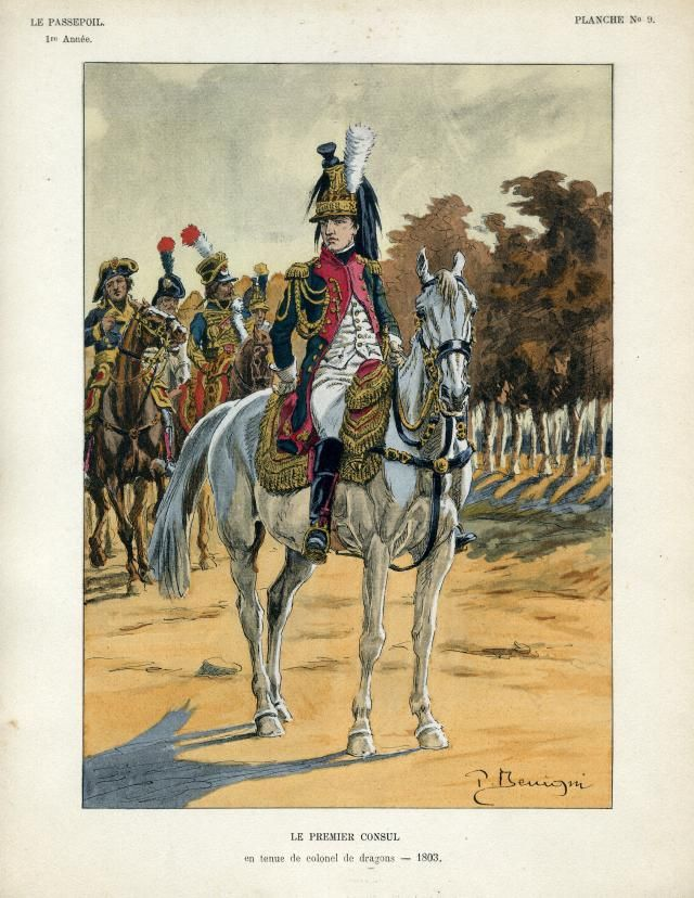 French;On an inspection visit to the Boulogne Camp in 1803 Bonaparte, who was still !st Consul at the time, wore the uniform of a Colonel of 9th Dragoons. 9th Dragoons had taken an active part in the Coup of 18th Brumaire.