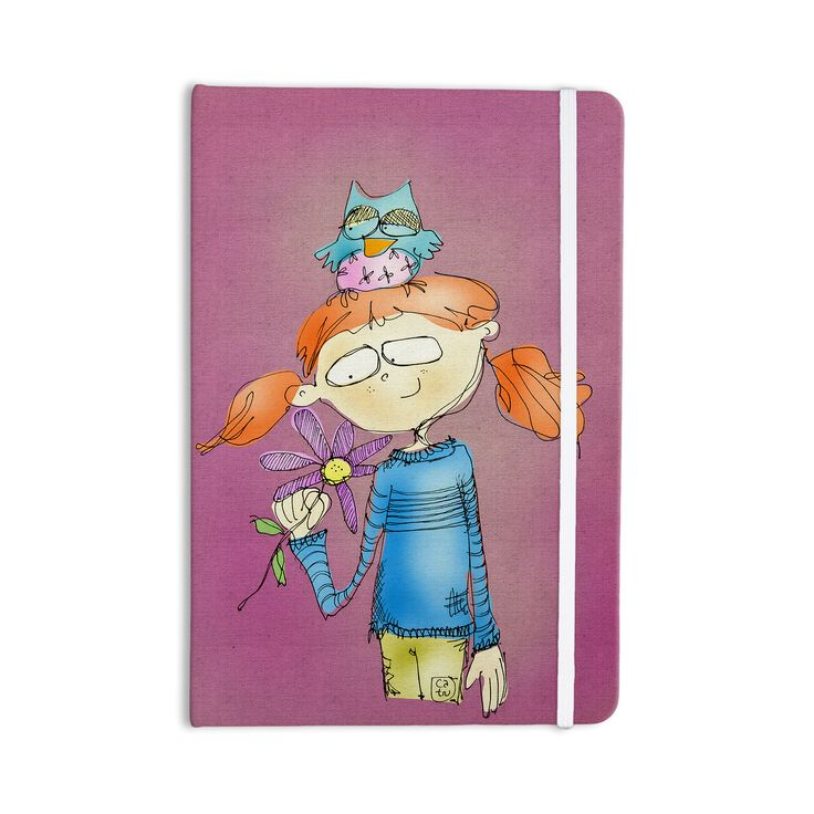 """Carina Povarchik """"Cute Girl With An Owl Pet"""" Magenta Kids Everything Notebook"""