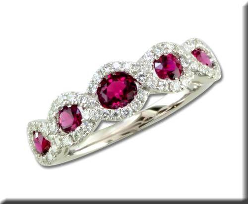 Parlé 14K White Gold Madagascar Ruby & Diamond Ring Style: RCC108RM1WI