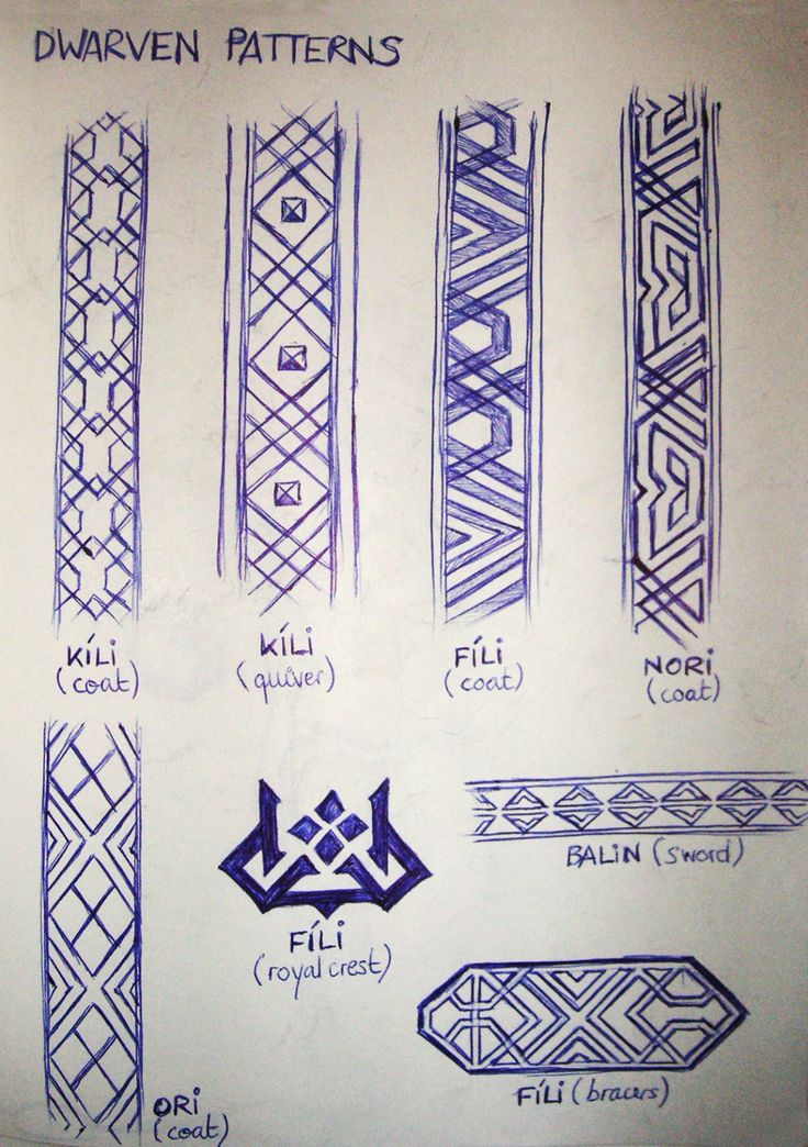Some Dwarven patterns inspired by the wonderful Hobbit artbooks… Because I need a selection of Dwarven patterns for all my Hobbit fanart. (Yeah, I currently don't have a scanner, so I have to take...