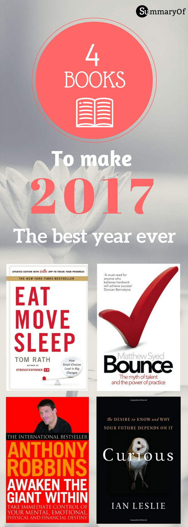 Aspiring to improve your life 2017? These 4 books will give you #lifequality in 4 different aspects. #motivation #inspiration #personalgrowth #selfimprovement