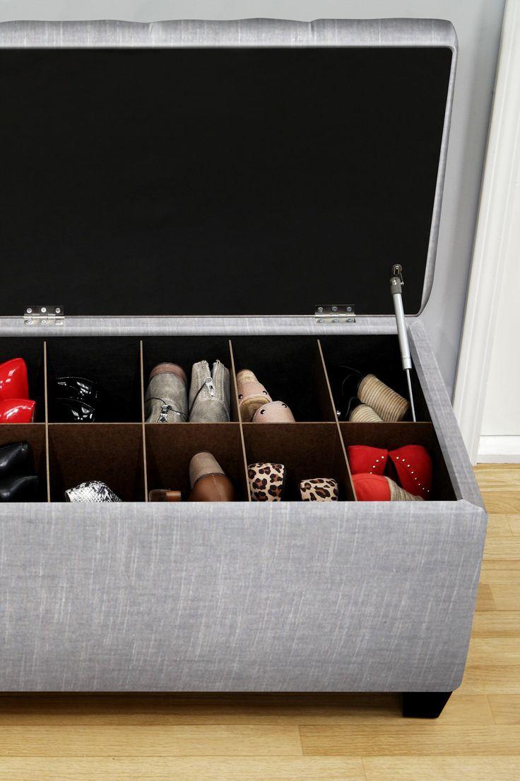The Sole Secret Blue Upholstered Shoe Storage Bench