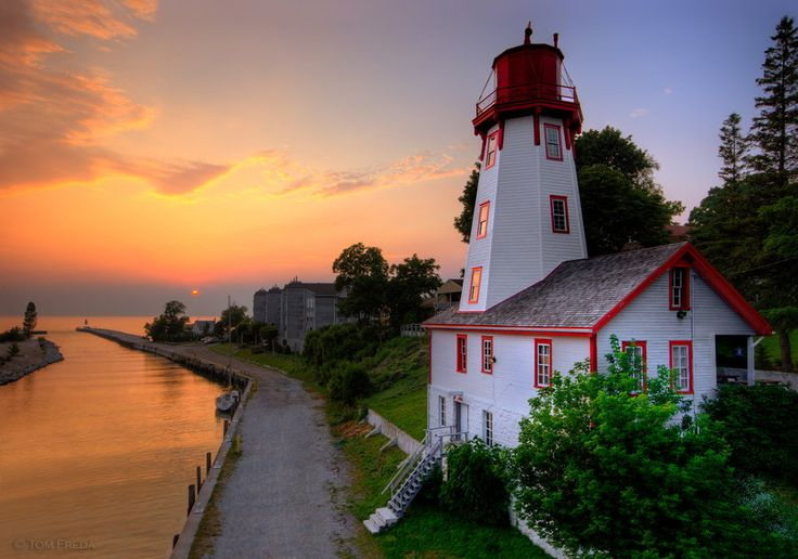 Kincardine, Ontario, Canada. Kincardine Lighthouse and sunset over Lake Huron.