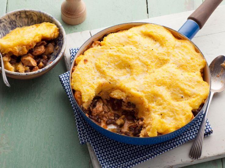Chicken Tamale Pie Uses cooked chicken, salsa, cheese, canned beans and you could use a box of Jiffy Cornbread for the topper.