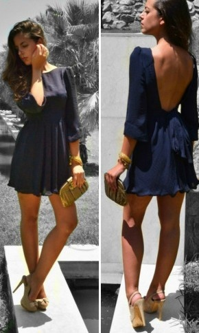 want this dress.: Open Back Dresses, Fashion, Backless Dresses, Style, Low Back Dresses, Navy Dresses, Outfit, Nude Heels, The Dresses