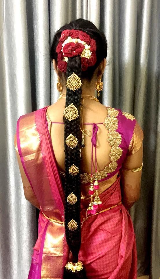 South Indian bride. Kanchipuram silk sari. Temple jewelry. Braid with fresh…