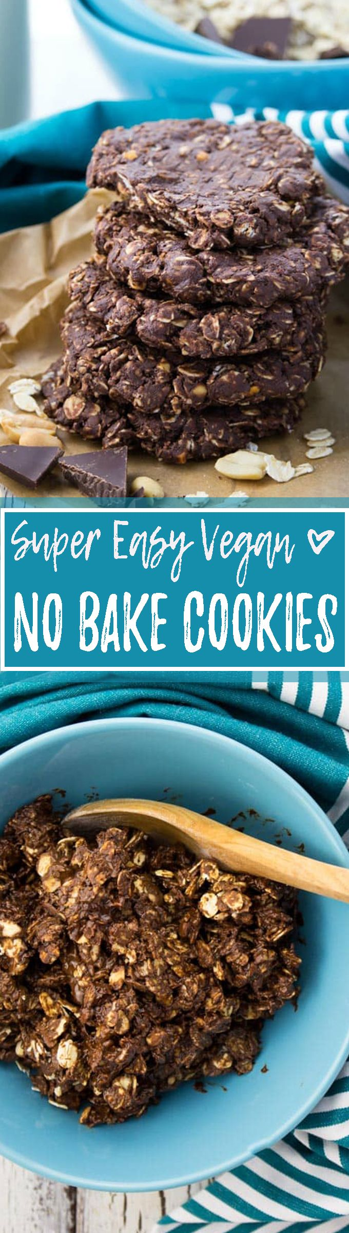 These vegan no bake cookies with chocolate and peanut butter are perfect when you feel like having a little treat and don't have enough time for real baking! You only need 10 minutes to make them! <3 | veganheaven.org