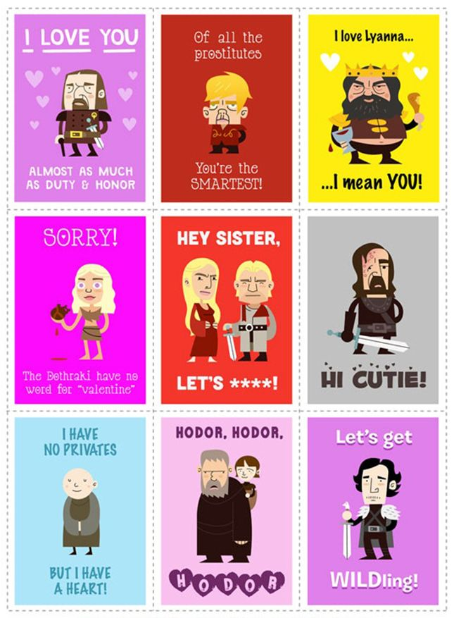 Spread some love with these Game of Thrones cards.