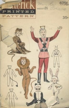 An original ca. 1950's Butterick pattern 6756.  Set of Animal Costumes:  Space Suit - A: rabbit has long ears and a powder ponytail. B: slinky leopard with long tail, real paws. C: ferocious lion sports a huge mane. D: off to the moon - is a space suit complete with boots, hood and antennae. E: cuddly panda.