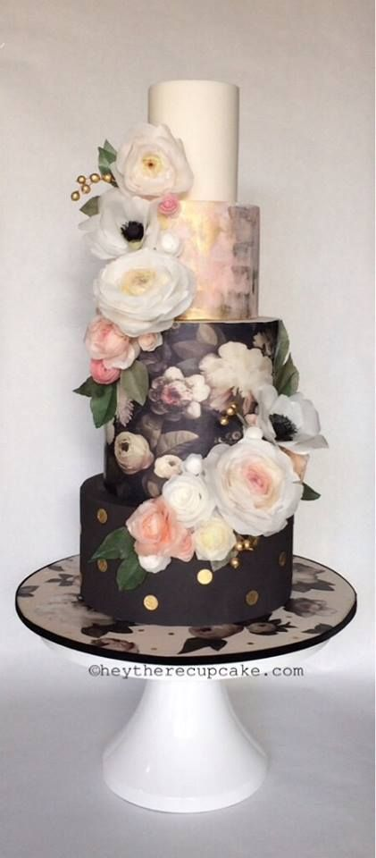 Eclectic Wedding Cake by Hey there, Cupcake! Wafer Paper Flowers