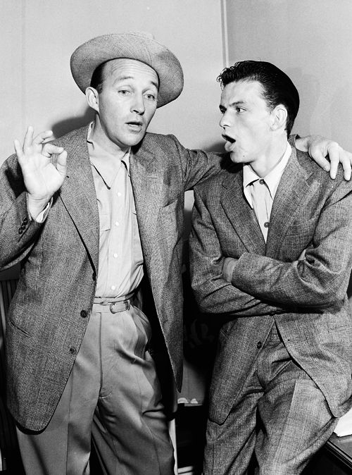 September 12, 1943—Frank Sinatra & Bing Crosby goof off for the cameras in between radio programs, Hollywood, CA