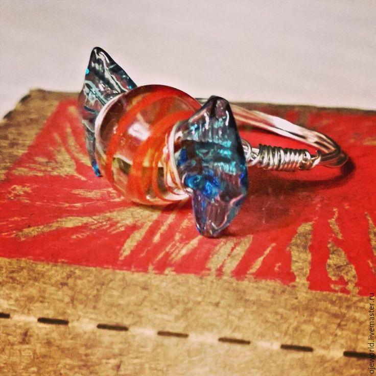 """Купить """"Венеция"""" кольцо, стекло ручной работы, ювелирный сплав. - лэмпворк, кольцо ручной работы, OlgaJW"""