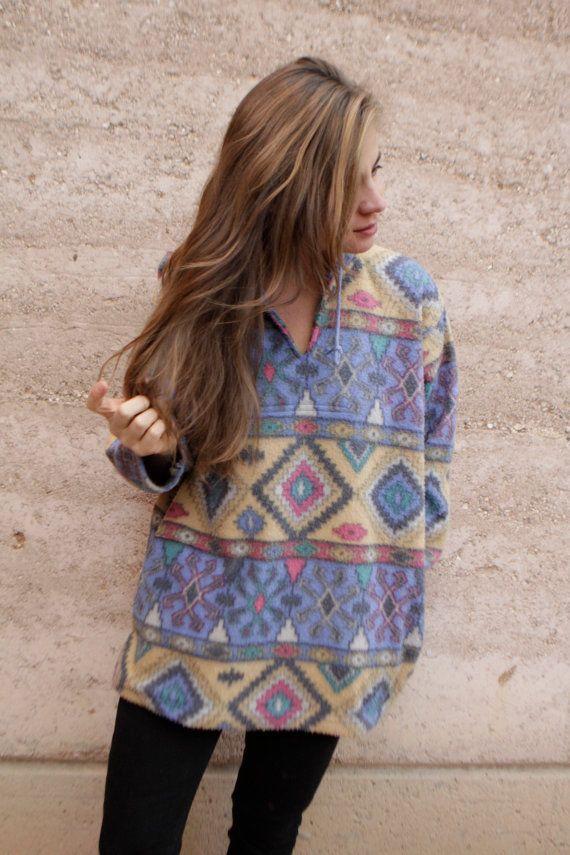 90s SLOUCHY ikat style parka SOUTHWEST oversize large FLEECE sweatshirt jacket  #mfl_womenstop