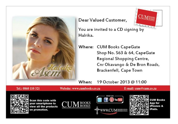 Halrika will be signing CDs at CUM Books Cape Gate 19 Oct 2013 at 11am. Meet and greet!