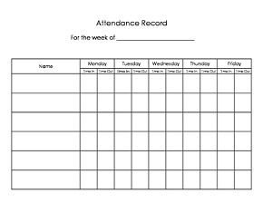 Daycare sign in/sign out sheet. Easy way to keep track of attendance. Have the parents fill in the time of drop-off and pick-up.