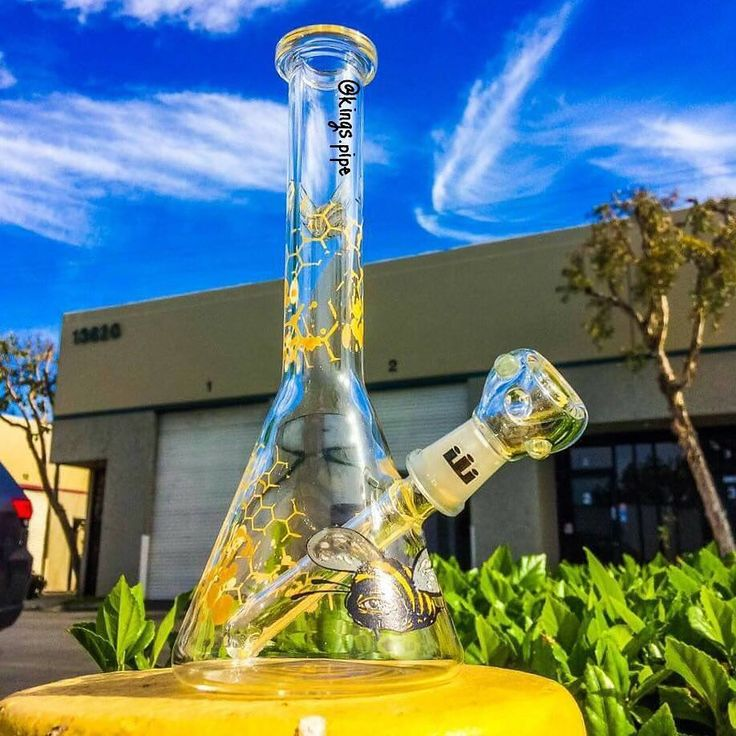 SILIKA - BEE AND HONEYCOMB BEAKER DAB RIG  This cool Beaker by @silika_glass is for sale on our online store!  KINGS-PIPE.COM  #kingspipe