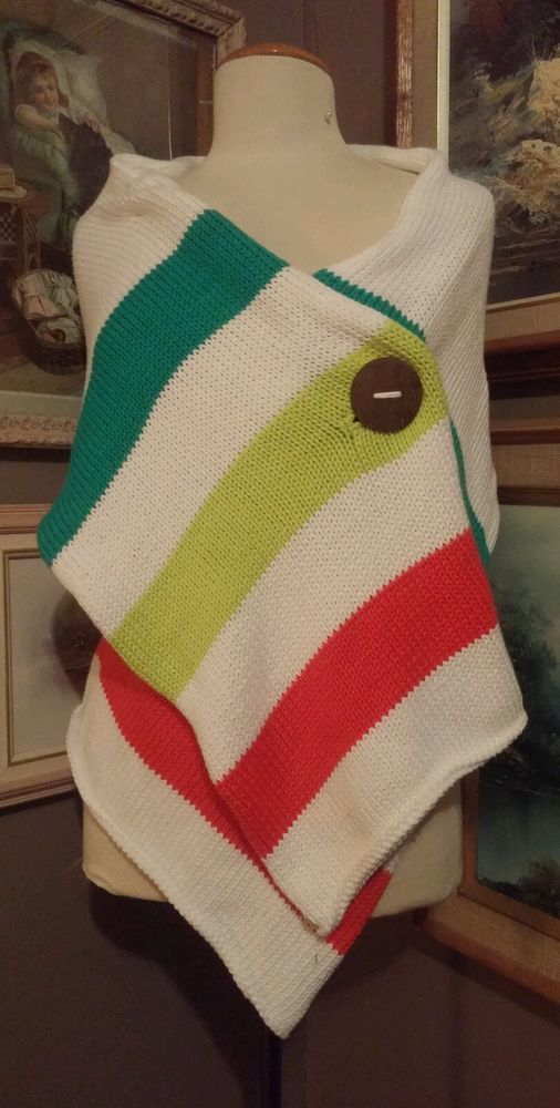Pure Knits Hudson Bay style wrap scarf RARE pattern emerald green lime and red #PureKnits #ShawlWrap