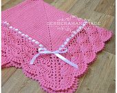 Coral crochet baby blanket Baby Girl Blanket Baby wrap blanket Ready to ship