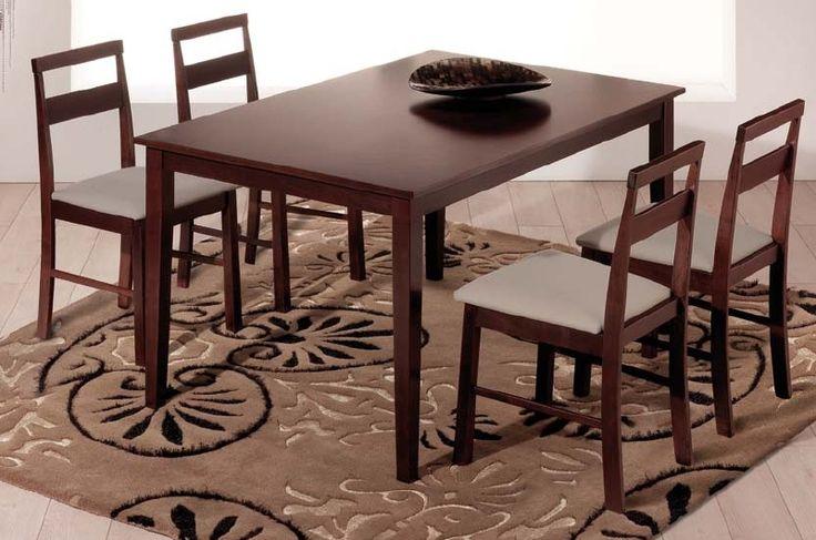 Pack Siet: Conjunto de mesa de madera,cuatro sillas de madera. Se sirve en Kit de muy fácil montaje y con instrucciones claras. Mesa en madera maciza de caucho. Tapa en MDF con chapilla de madera de caucho recubierta con barníz acrilico. Grosor de la pata 18mm. Color de la madera wengué. Tapizado en PU lavable colores topo y blanco.   .
