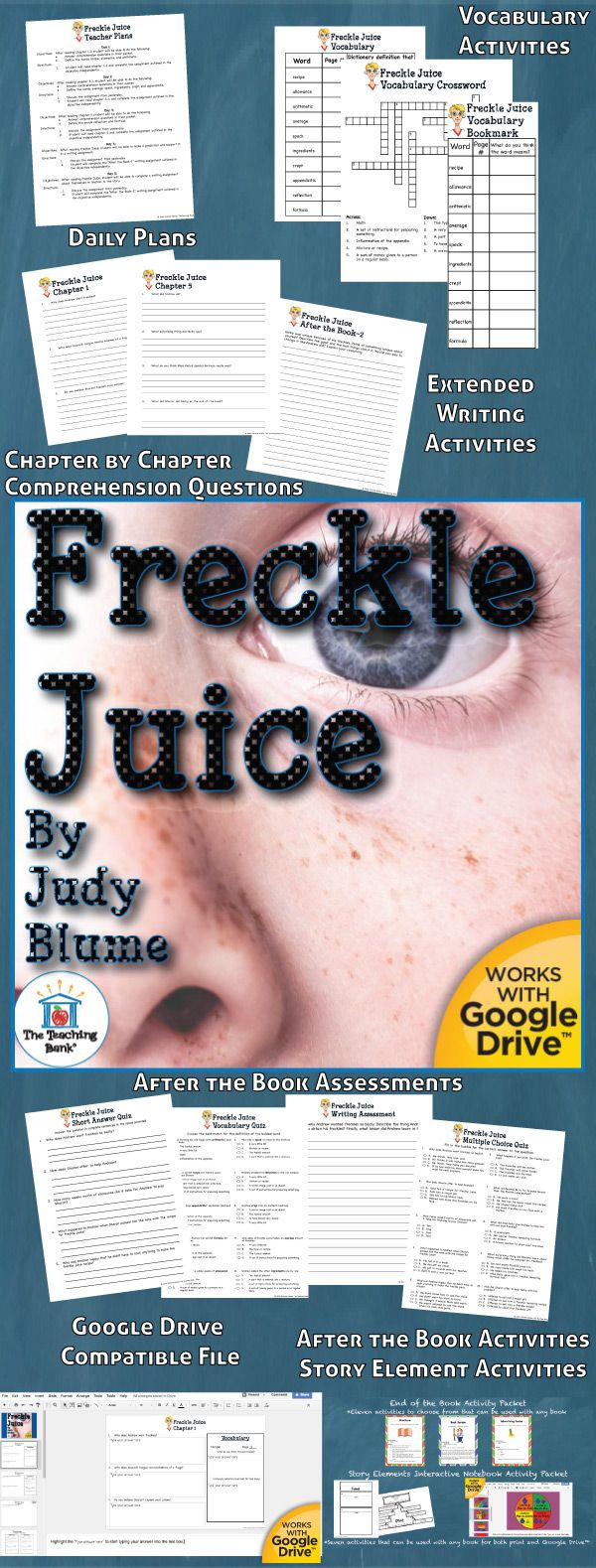 Freckle Juice Novel Study is a Common Core Standards aligned book unit to be used with Freckle Juice by Judy Blume. This download contains both a printable format as well as a Google Drive™ compatible format.