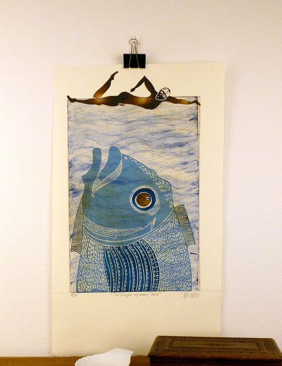 linocut, The Danger of being Male, swimmer, fish, ocean, gift for him, blue, sepia, printmaking, home interior, beach house, sea, humor,
