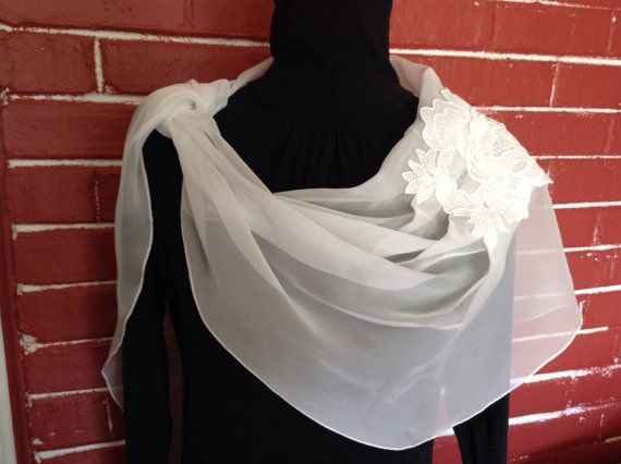 Cream Chiffon Scarf with embroider flower by SissyandTodo on Etsy, $30.00