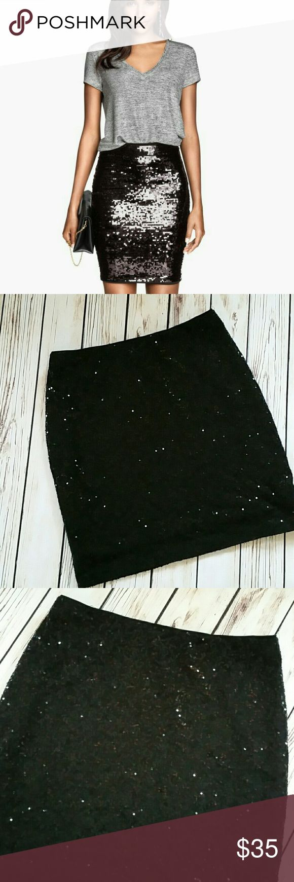"""Cache black sequin skirt small Gorgeous cache black sequin skirt. Small. Features elastic waist band. Measured flat. EUC. No visible flaws.   Waist 15"""" Length 19"""" Cache Skirts Pencil"""