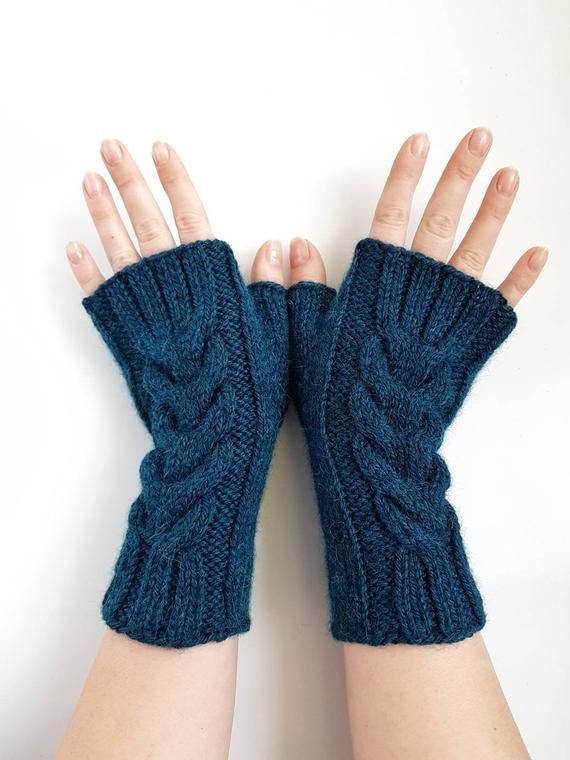 Knit Cable Fingerless Mitts Handknit Wool Gloves Knitted Handwarmers Handmade Armwarmers Winter Gloves Womens Mitts Christmas Gift Fingerless Mitts Hand Knitting Hand Knit Mittens