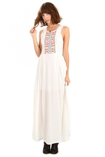 White Maxi with Neon Embroidery Sleeveless Dress - My Bella Vi