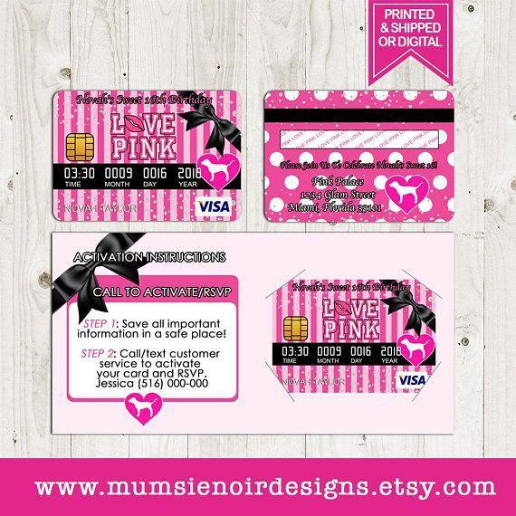 Victoria Secret Love Pink Credit Score Card Invitation Birthday