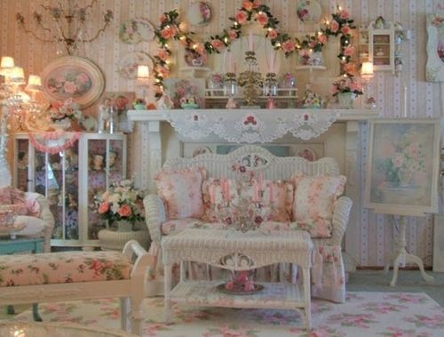 Sheer loveliness - a dreamy vision of roses, white rattan, lace, and soft lighting.
