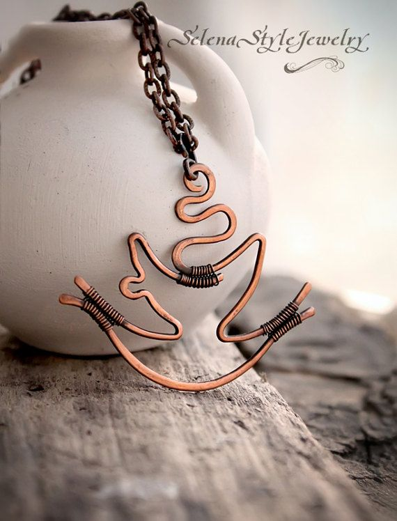 Cup Pendant tea coffee Copper Wire wrapped by SelenaStyleJewelry