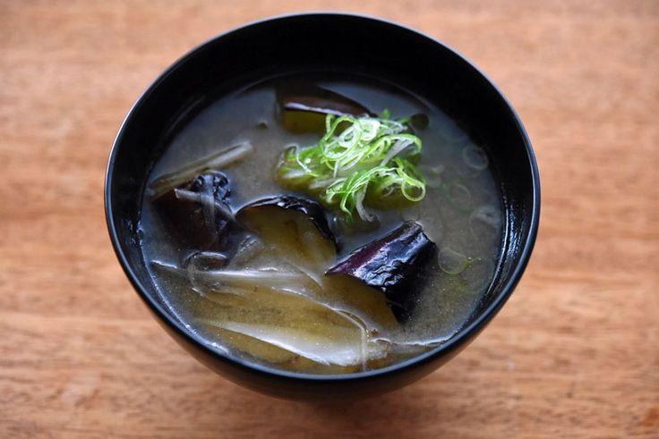 ナスの炒め揚げ味噌汁  Japanese eggplant Miso Soup